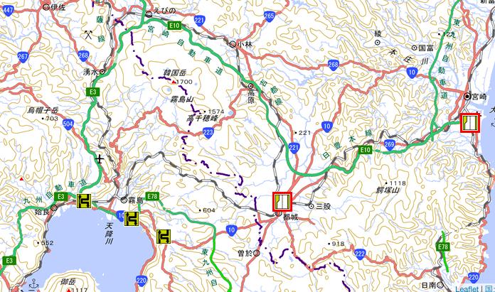 新燃岳と幹線道路の交通規制